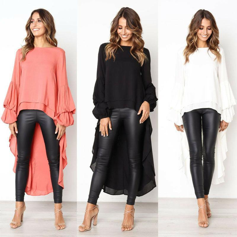 Sexy Women Spring Puff Sleeve Long Asymmetrical Hem Clubwear Casual Tops Shirt Blouse Women's Blouses & Shirts