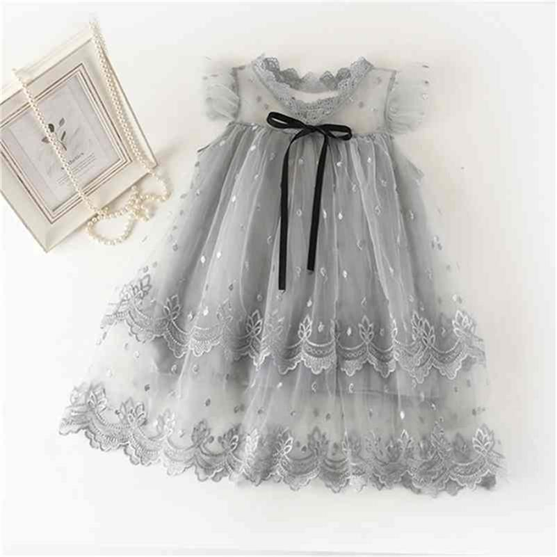 Lace Flower Kids Dresses for Girls Children Girls Birthday Party Clothing Wedding Evening Embroidery Floral Princess Dress 210427