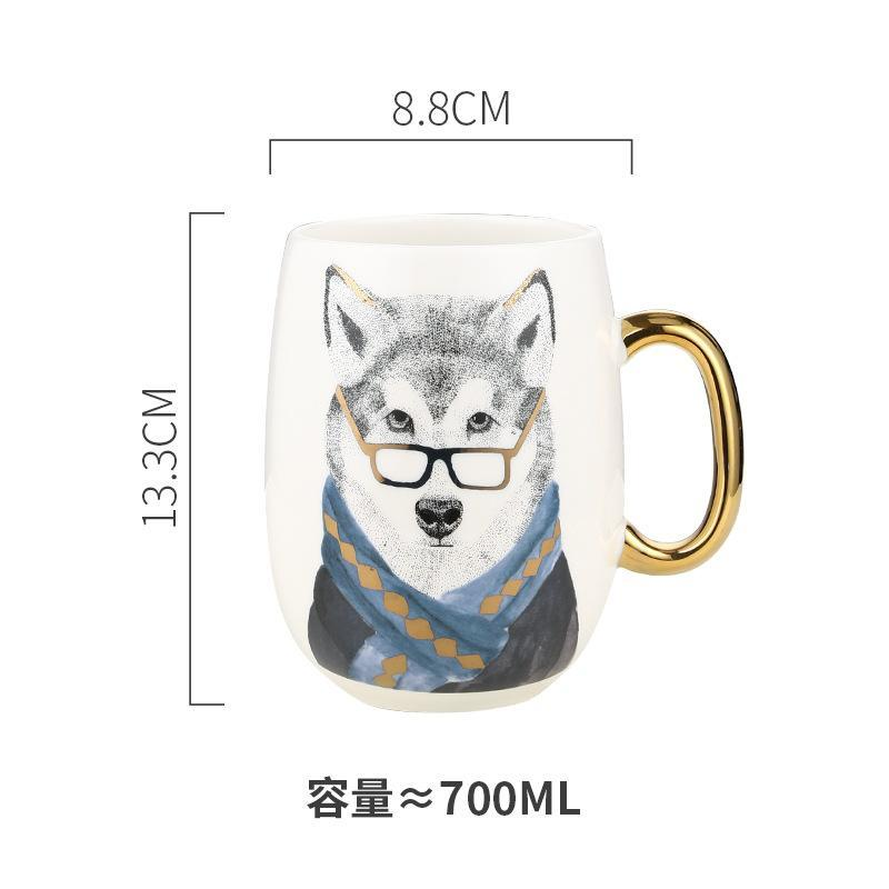 Mugs Creative Cartoon Cute Animal Ceramic Coffee Cup Souvenir Pot- Bellied Mug Pottery Handgrip Cn(Origin)