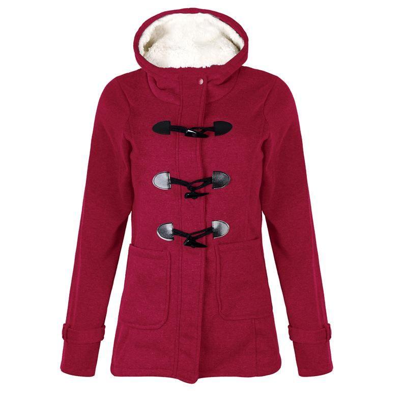 Style Plus Size Women's Fashion Slim Horn Buckle Stitching Pocket Hooded Long Sleeve Casual Sports Jacket Hoodies & Sweatshirts