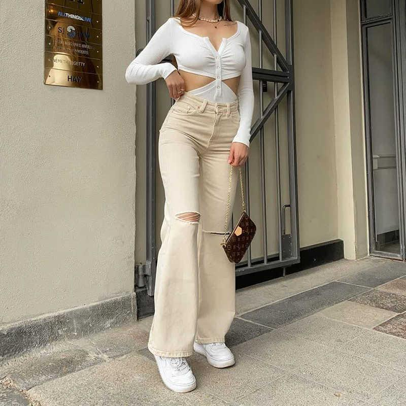 Women's Fashion Jeans Summer Casual Wide Leg Pants Loose High Waist Trousers Vintage Straight Ripped Mom Baggy Pants 210621