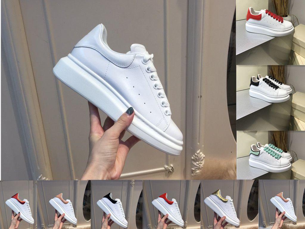 Kutu ile yüksek kaliteli erkekler ve kadınlar rahat ayakkabılar şık veya güzel kalın alt küçük beyaz ayakkabı boyutu 36-44