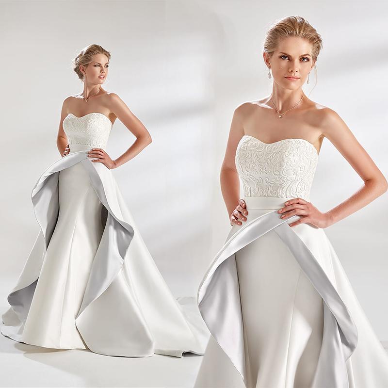 Eddy K Couture Mermaid Brautkleider mit langer Zug trägerlosen Applikationen Satinmantel Hochzeitskleid Sweep Zug Brautkleid