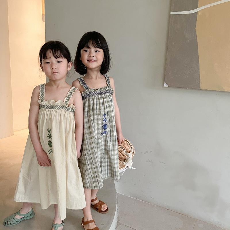Ankunft Mädchen Stickerei Weste Kleid Baumwolle Mode Sommerkleider Kinder Kleidung 1-6 Jahre Mädchen