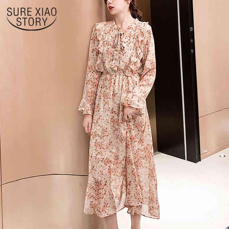 Primavera Impressão Longa Bow Flare Manga A-Linha Chiffon Dress Dress Mulheres Ruffles Império Vestidos 8549 50 210417