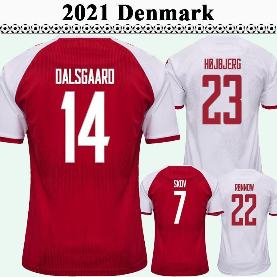 2021 Delaney Braithwaite Dolberg Mens Futebol Jerseys Dinamarca Equipe Nacional Wrksen Hojbjerg Home Fora de Futebol Camisa Uniformes