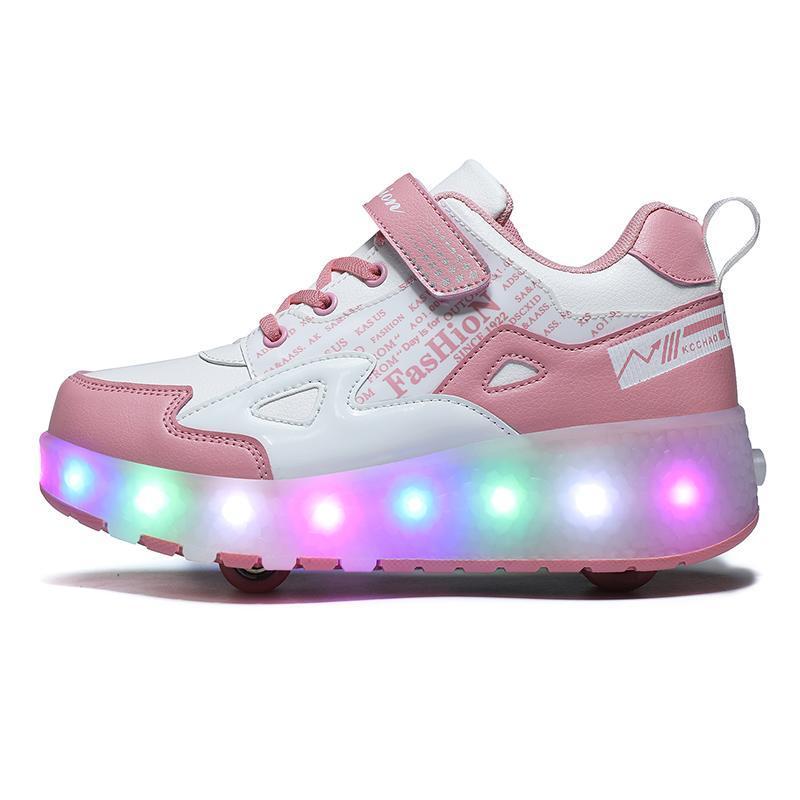 Şarj Çocuk Erkek Ayakkabı Ile İki Tekerlekler Çocuk Parlayan Sneakers Erkek Kız için LED Işık LED Işık Shining Ayakkabı Atletik Açık