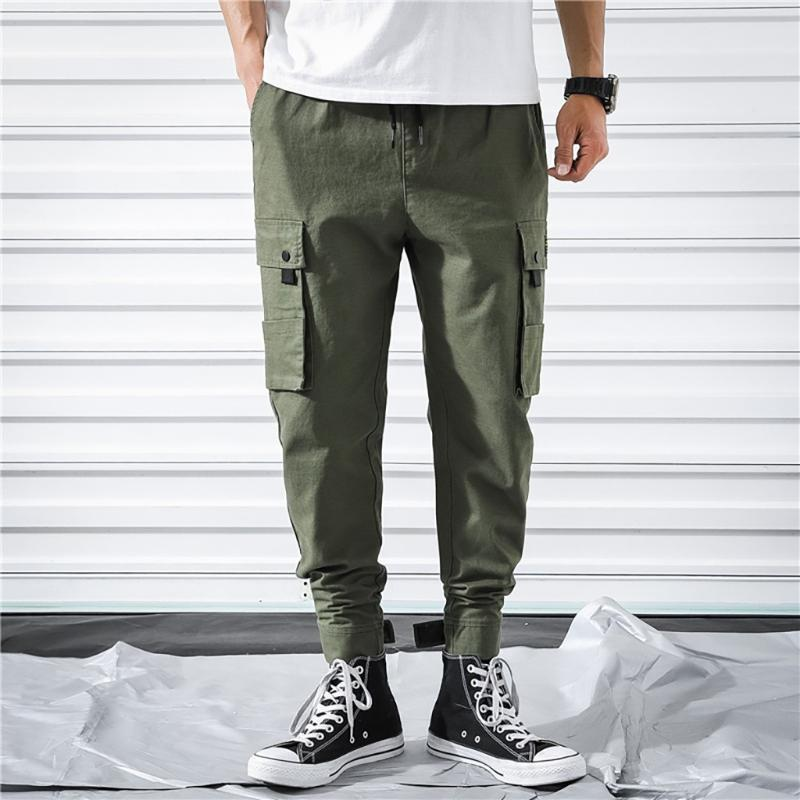 Green Cargo Hosen Männer Form-Fitting Casual Pocket Mode Lose Plus Größe Neun-minuten Haren Harajuku Hosen G3 Männer