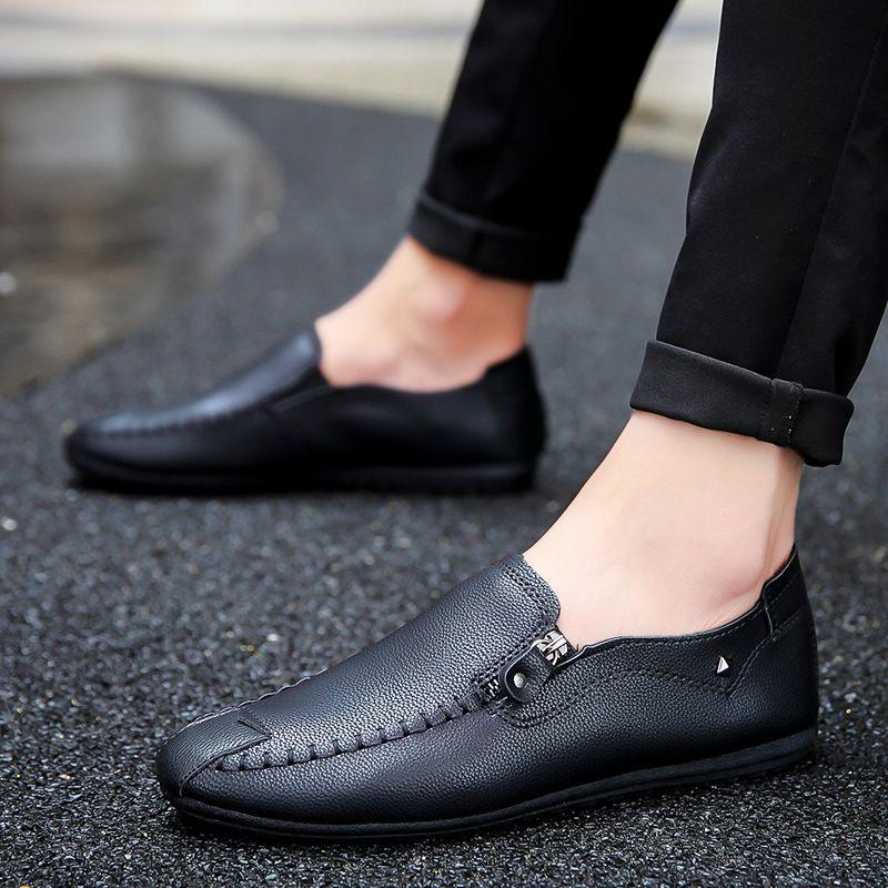 Yeni Bahar Yaz Beanie Ayakkabı Erkek Rahat Tembellik Deri Ayakkabı Ayakkabı Kore Tarzı Sürüş Fermuar Süslemeleri Slip-On Mens