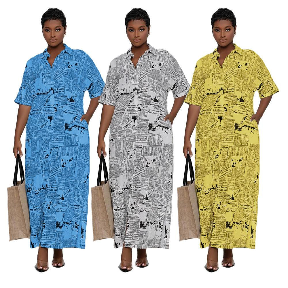 Plus Size Newspaper Letter Print Maxi Dress Women Turn Down Collar Half Sleeve Blouse Dresses Autumn Buttons Up Shirt Vestidos