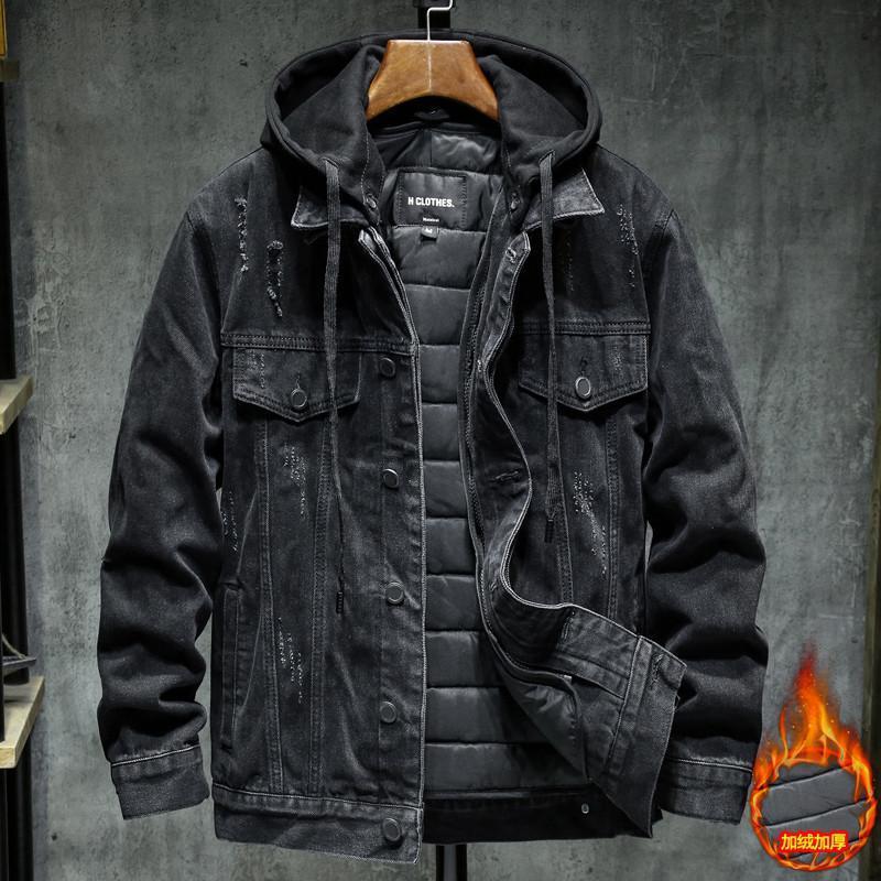 Herren Hoodies Sweatshirts Winter Denim Große M-4XL Jean Warme Wolle Oberbekleidung Liner Größe Mäntel Männer Dicker Schwarz / Blau Jacken Jacke