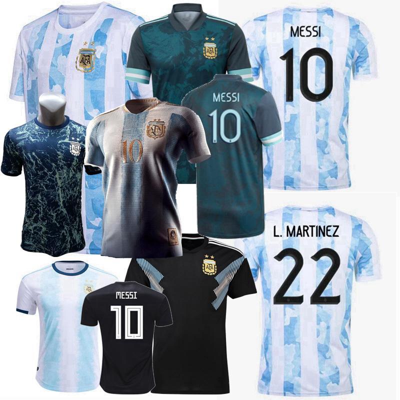 2018 2019 2020 2021 2022 Argentina Conceito Jerseys de futebol Otamendi L.Martinez Kun Aguero Dybala di Mariao Messi Maradona Distintivo Especial Dourado Futebol Homens Crianças Camisa