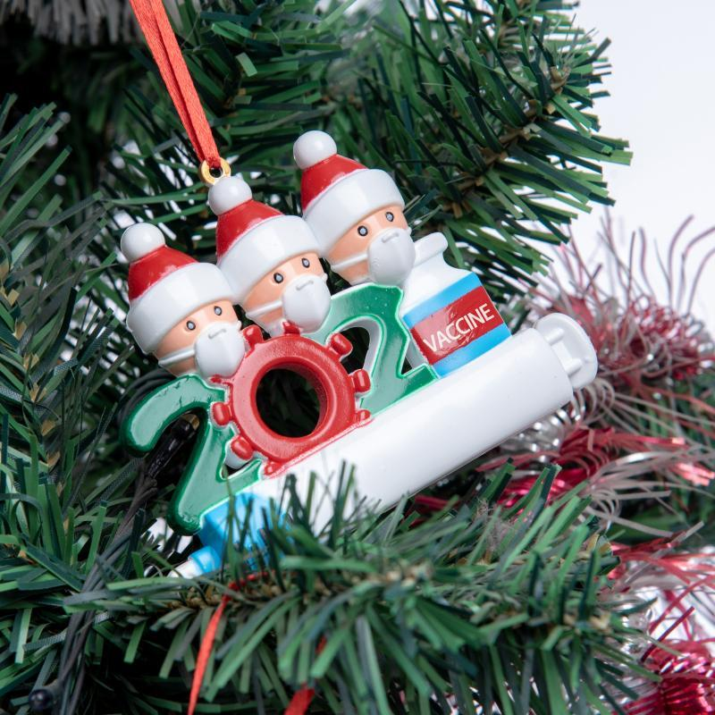 Real Photos Resin Material Quarantine Personalized Christmas 2021 Decoration DIY Hanging Ornament Cute Snowman Pendant Social Distancing Party Fast Delivery ABS