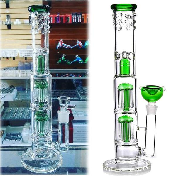 Glass Bubbler Heady Dab Rigs Hookahs Glass Water Bongs Smoke Pipes Wax Oil Rigs 14.9 inchs tall Bong Arm Tree Perc