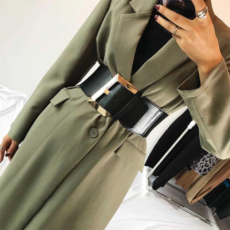 Largura 9cm preto falso couro cintura larga cinto mulheres moda pu elastic cintura cintura corset cintos para casacos 2019 cinto de cintura alta CX200722