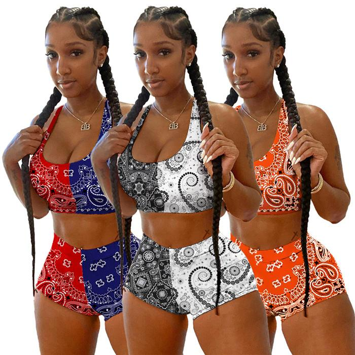 Womens Floral Tracksuits Color contrast Patchwork Summer Casual 2 Piece Outfit Sleeveless Tanks Top and Sexy Biker Shorts