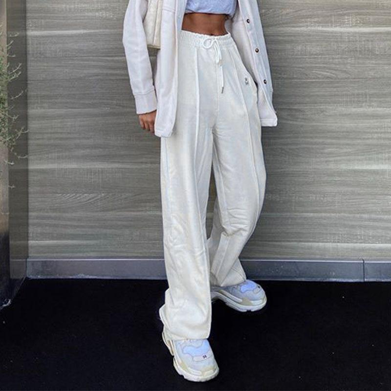 Women Sport Pants Elastic Belt Tall Waist Straight Leg Slim White Concise