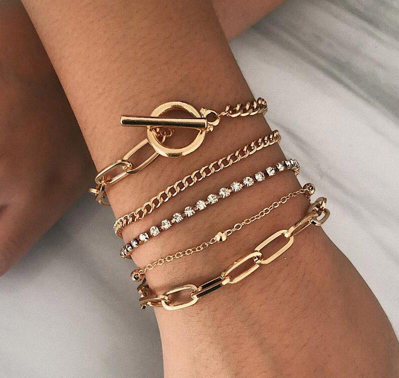 Bohemian Geométrico Cristal Multi Link Link Bracelets Bangles Charm Ajustable Lazo Pulsera Sistema para Mujeres Regalos de Joyería