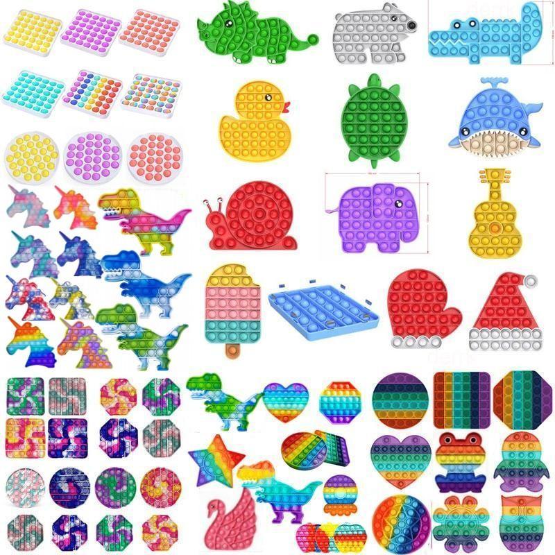 24Х корабль! DHL Tiktok Rainbow Keychain Push It Fidge Toys Sensosory Push Bubble Fidget Sensory Autism Специальные нужды Тревога напрямую для офиса Флуоресцен