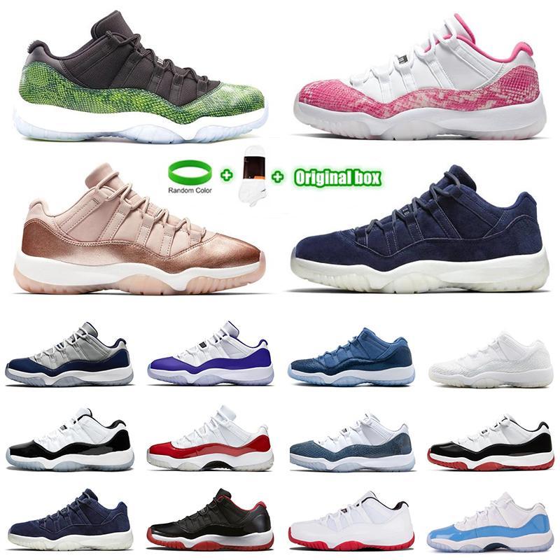 [سوار + الجوارب + المربع الأصلي] 11 الأحذية المنخفضة الأبيض bed 11s jumpman أحذية كرة السلة وريثة ليلة مارون بانتون اعتقد 16 ثعبان روز الذهب الرجال النساء أحذية رياضية