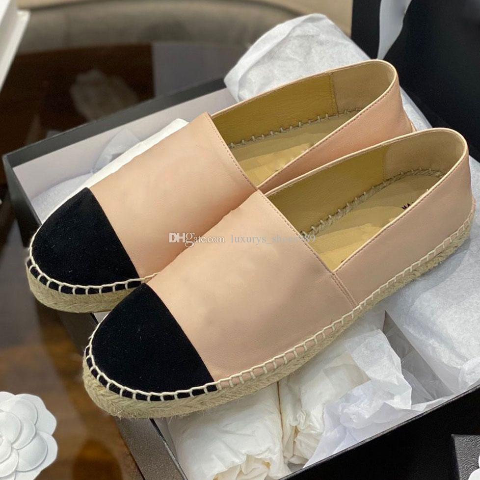 021 عالية الجودة القنب حبل عارضة الصياد الأحذية الفاخرة مصمم الجلود الناشية تنورة فتاة espadrillesuper مسطح أسفل الصيف الحجم EUR34-42 مع مربع