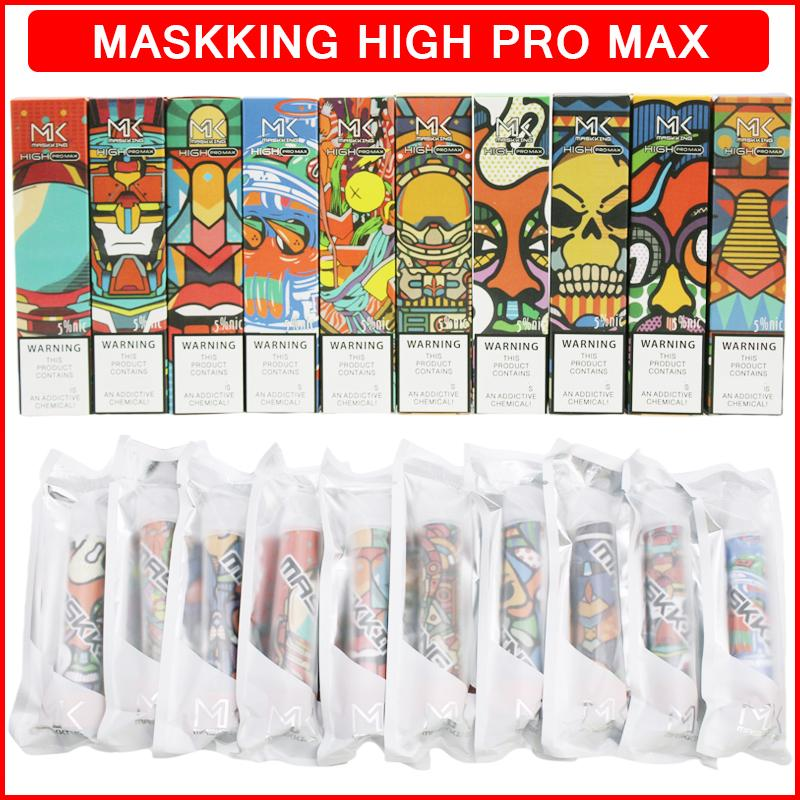 Maskking High Pro Max Disabosable Cigarettes Vape 펜 장치 1500 퍼프 850mAh 배터리 4.5ml 미리 채워진 카트리지 포드 MK 스틱 vapes