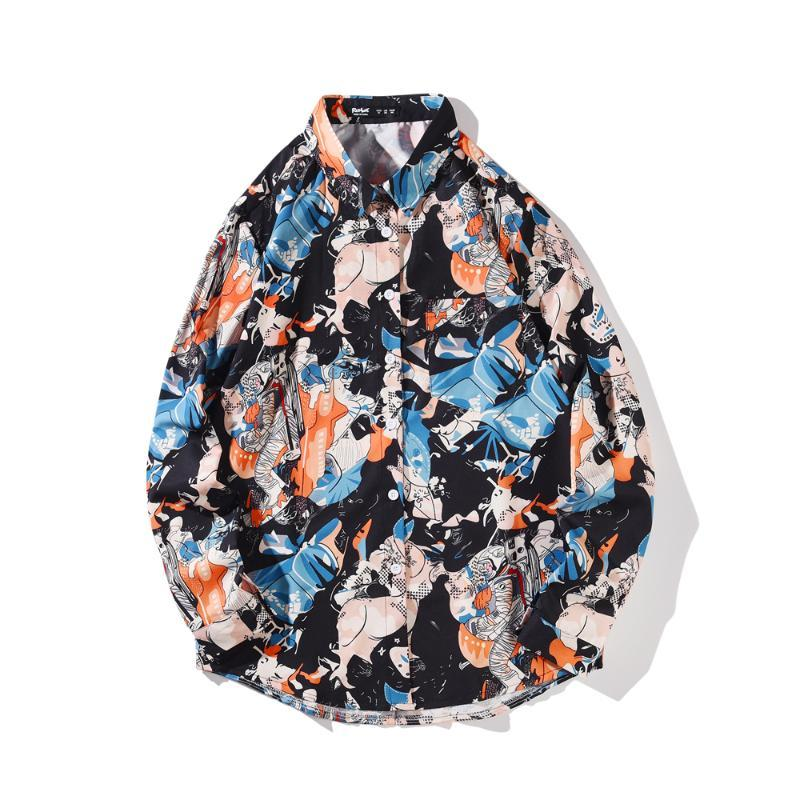 2021SS 럭셔리 로얄 셔츠 남성 캐주얼 슬림 싱글 브로스 긴 소매 인쇄 된 Camisa 사회 Masculina Prom 파티 셔츠