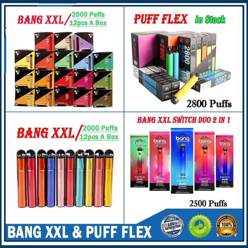Bang XXL Einweggerät 800mAh Power Batterie Vorgefüllt 6ml Pod 2000 Puffs XXTRA KITS VAPE Leerer Stift vs BAR Flow Xtra Plus XL Air BAR Lux Switch Duo 2 in 1