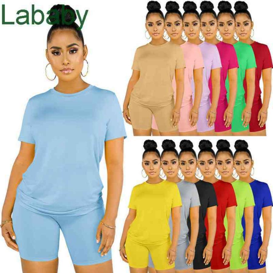 Women Tracksuits Two Piece Set Designer Solid Colour Casual Suit Round Neck Short Sleeve Shorts Outfits Plus Size Outfits 13 Colours