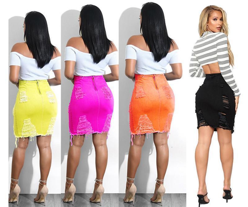 Denim Sommer Weibliche Aushöhlen Tassel Röcke Unregelmäßige Kleidung mit Reißverschluss Womens Paket Hüfte