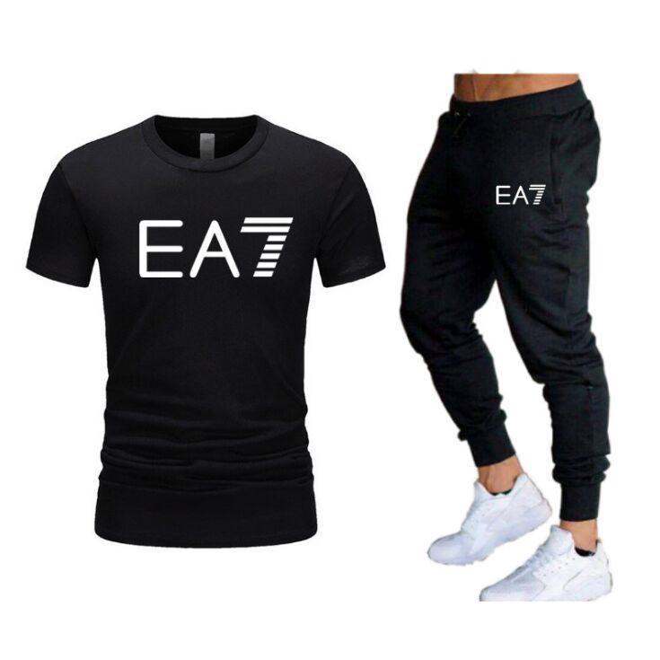 Uomo Casual Tracksuit Summer Abbigliamento Sportswear Abbigliamento Two Piece Set T Shirt Brand Track Abbigliamento Maschio Sweatsuit Sports Suits S-2XL