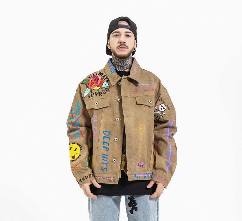 남성용 페인트 자수 데님 재킷 패션 씻어 디자이너 오토바이 바이커 남자 힙합 epaulet 청바지 자켓 코트 E227