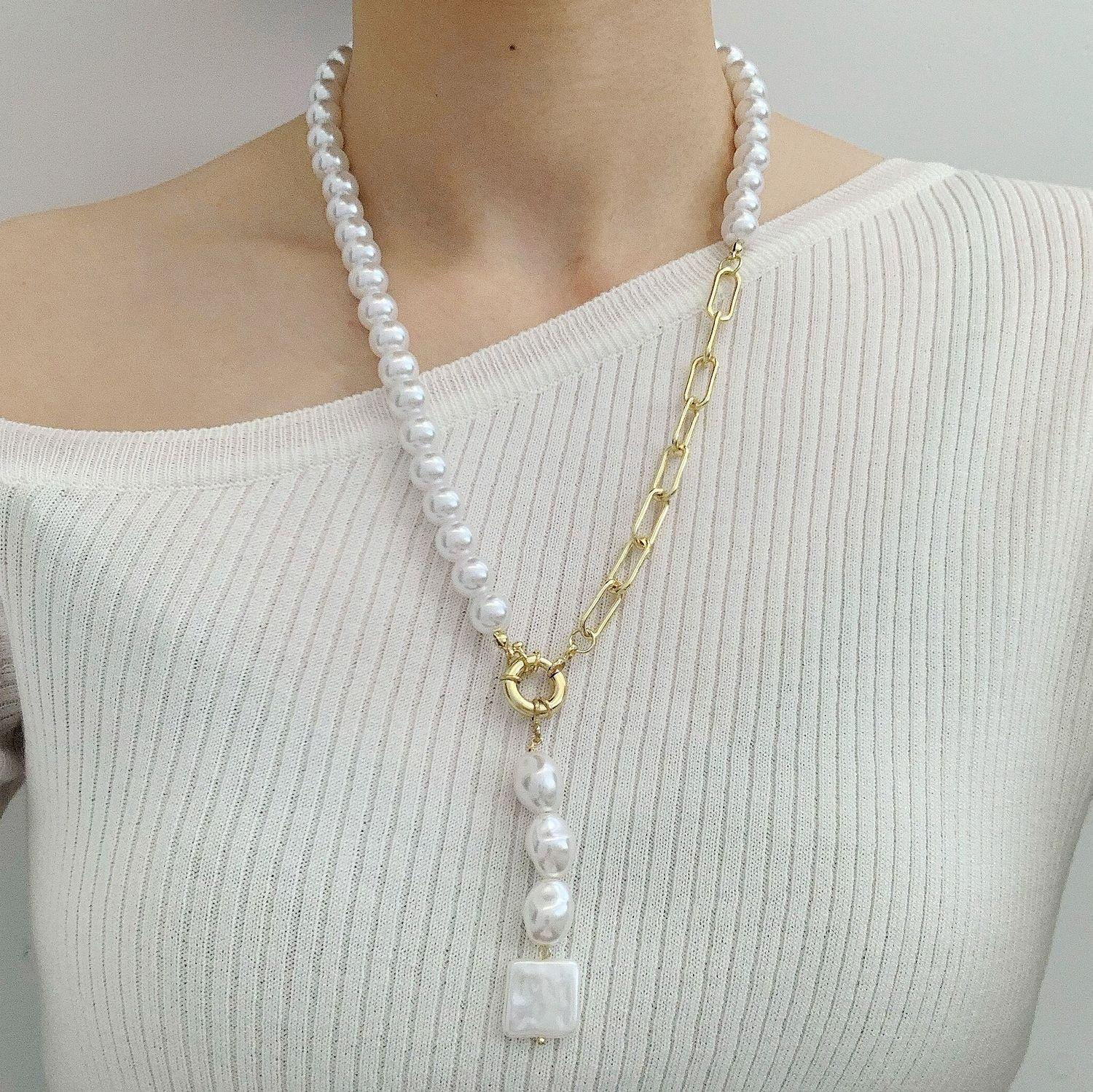 Bead strands necklace O chain strings necklaces long style neck wearing imitation pearl beads update trends female costume accessories