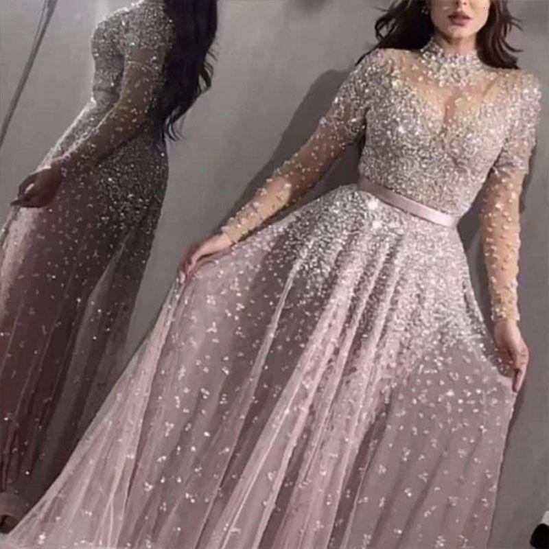 여성 우아한 공식 이브닝 파티 메쉬 긴 소매 높은 허리 스팽글 반짝이 결혼식 긴 드레스 2020 최고의 고품질 Vestidos