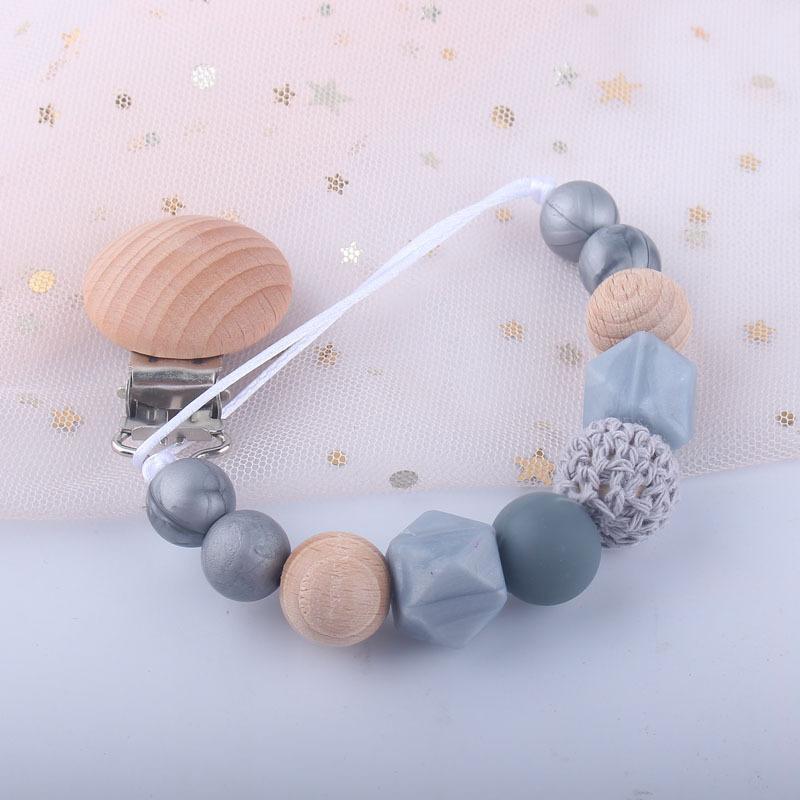DIY bebê silicone chupeta clipe suporte de cadeia de madeira frisada frisada mamilo teether manequim cinta