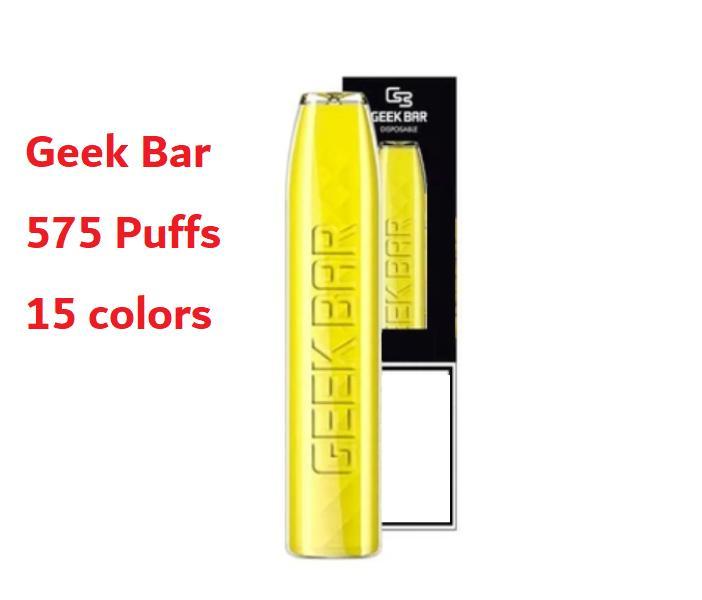 GEEK BAR Electronic Cigarettes starter kit Disposable Vape pen 575 Puffs 15 colors 2.4ml Pre-Filled 500mAh Battery vapors wholesale