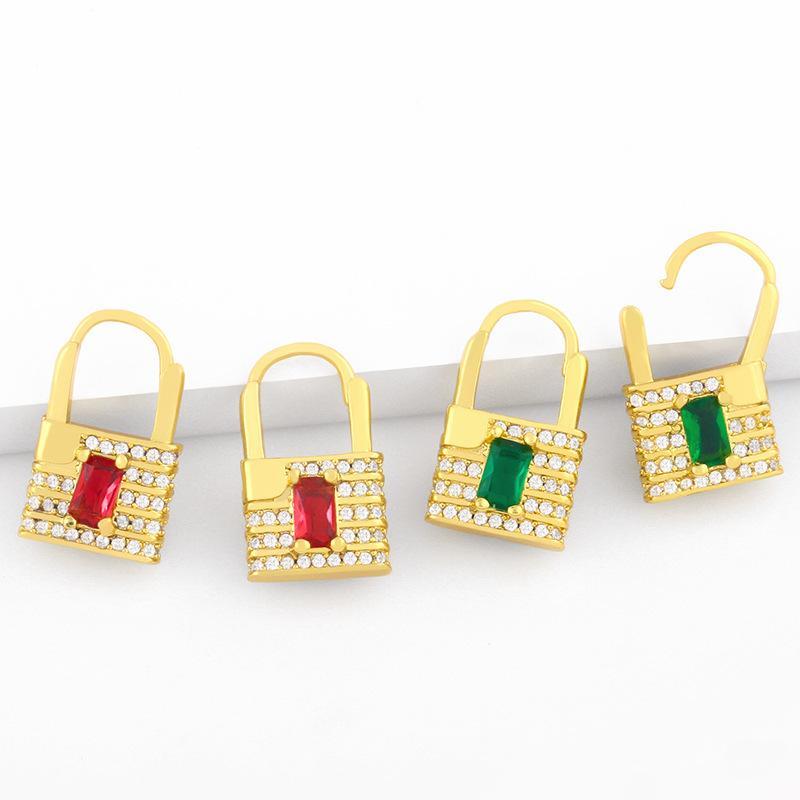 디자이너 인사 패션 창조적 인 개인화 잠금 여성 마이크로 상감 된 다채로운 지르콘 귀걸이