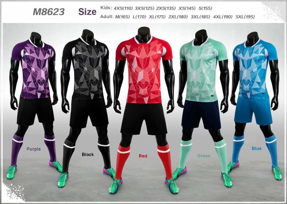 M8623 adulto em branco Crianças Jersey Jersey Jogo de futebol Kit de futebol Futbol Futbol Formação Uniformes Teamwear conjunto personalizado