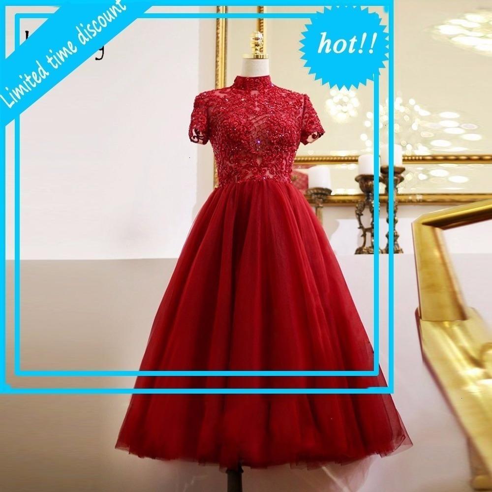 Modest modesto borde rojo longitud té brillante kralen cristal viste vestido de noche alto cuello corto Mouwen Fiesta