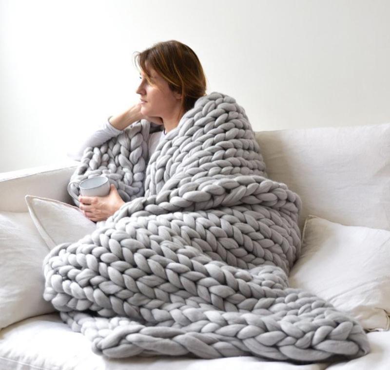 Coperte Tessile Giardino Drop Consegna 2021 Inverno fatto a mano a maglia a maglia morbida calda filato spessa a maglia coperta a maglia da letto decorazioni Seokq