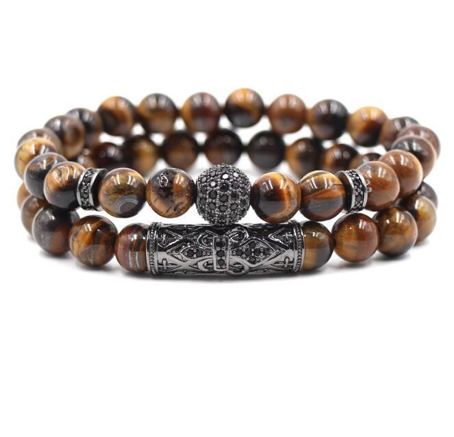 pc/set Natural tiger eye pearl beads bracelet set, jewelry for men and women, elastic material Wrist Strap accessories Gift GC203