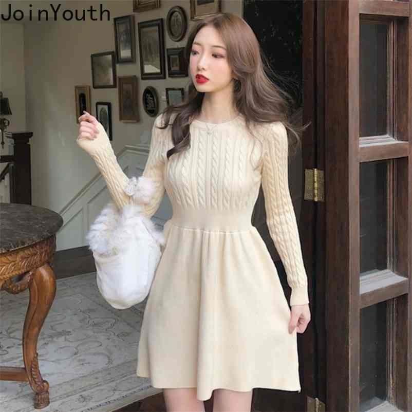 Outono inverno camisola vestido mulheres a linha sólida cintura alta tricotada vestidos elegante mini vestidos j1051 210506