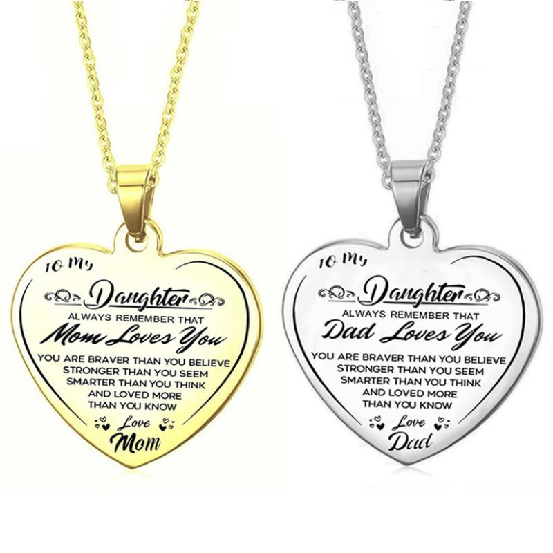 Chains To My Daughter From Mom Dad Stainless Steel Heart Pendant Necklace I Love You Family Jewelry Gift