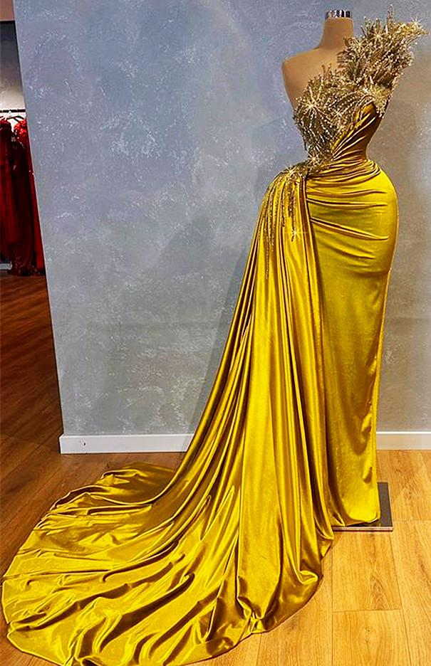 2021 Plus Size Arabic Aso Ebi Stylish Lace Beaded Prom Dresses One Shoulder Stheath Satin Evening Formal Party Second Reception Gowns ZJ330