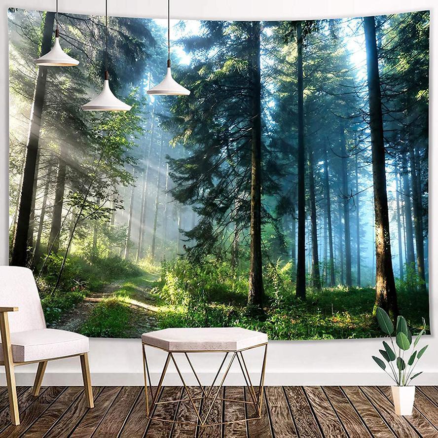 안개가 자욱한 숲 태피스 트리 홈 침실 거실 벽 교수형 아트 장식 3D 인쇄 환각 나무 녹색 정글 자연 풍경 태피스트리