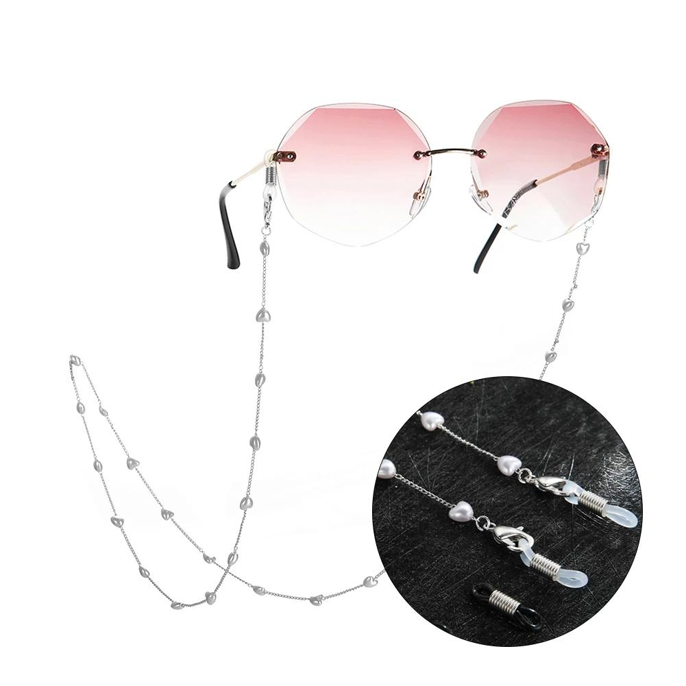 Glasses Chain for Heart-Shaped Pearl Neck Holding Beaded Sunglasses Eyewear Cord Lanyard Crystal Neck