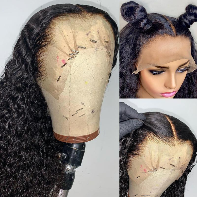 Jet Black Color Curly Middle Part Synthetic Lace Front Wigs With Baby Hair For Women Glueless Wig Heat Resistant Daily