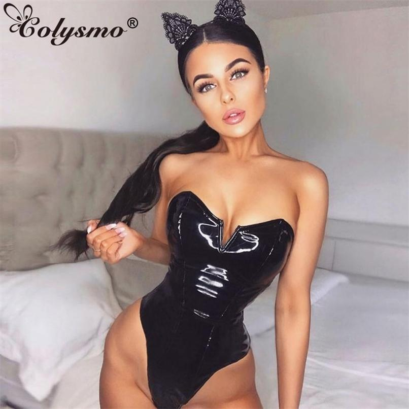 PU Couro Sexy Bodysuit Mulheres Pretas Backless Bodysuits Low Cut Club Roupas Ladies Jumpsuit Body Mujer 210521