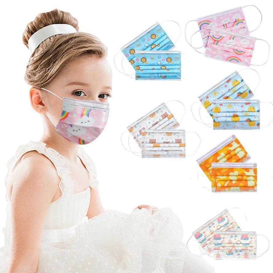أقنعة الأطفال المتاح واقية بنين بنات الطفل قسم رقيقة تنفس طفل الكرتون الاطفال rainbow الأرنب الدب النسر طباعة faceMask
