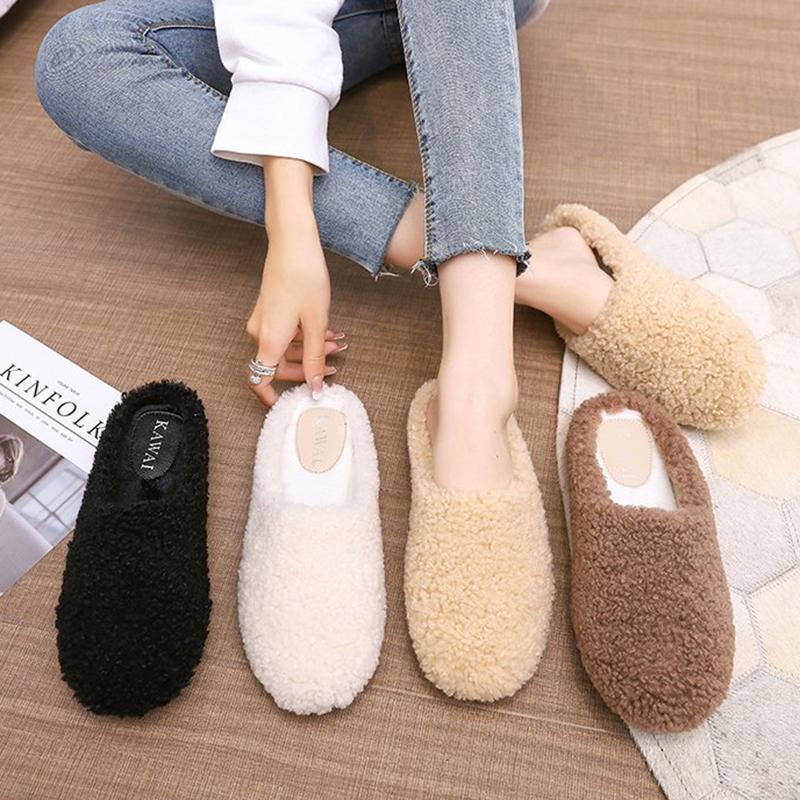 Moda Mujeres Peluche Fluffy Inicio Zapatillas Invierno Piel Cálida Resbalón En Diapositivas Planas Lady Faux Slipper Blanco Casual Zapatos Negros